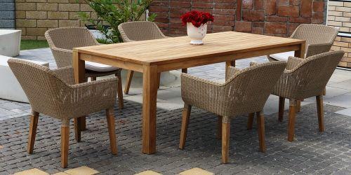 ANGELA BARROW ratanové stoličky s masívnym stolom 100 x 220 cm