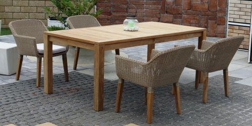 ANGELA CASTELLO ratanové stoličky s masívnym stolom 100 x 200 cm