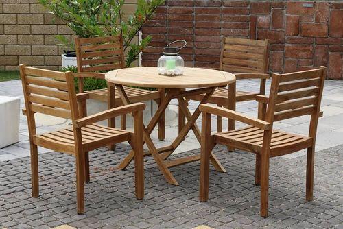 BERNISE DAISY stohovateľné stoličky s okrúhlym stolom priemer 100 cm