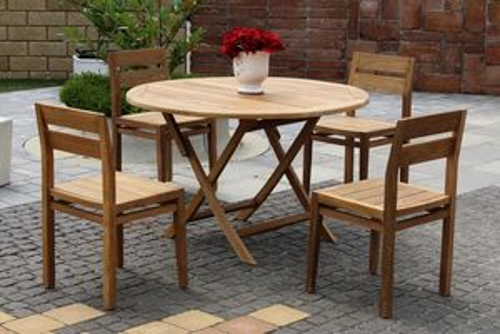 HERA DAISY stohovateľné stoličky s okrúhlym stolom priemer 120 cm