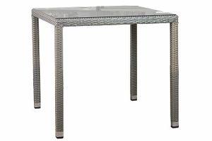 MEZZO ratanový záhradný stôl so sklom 80 x 80 cm