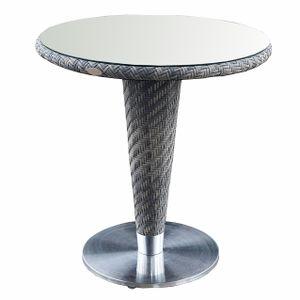 VITORIO ratanový balkónový stôl so sklom priemer 70 cm