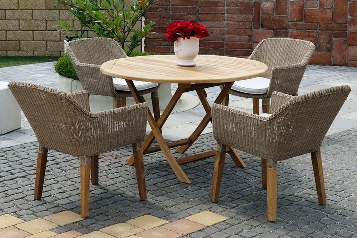 ANGELA DAISY ratanové stoličky s okrúhlym stolom priemer 120 cm