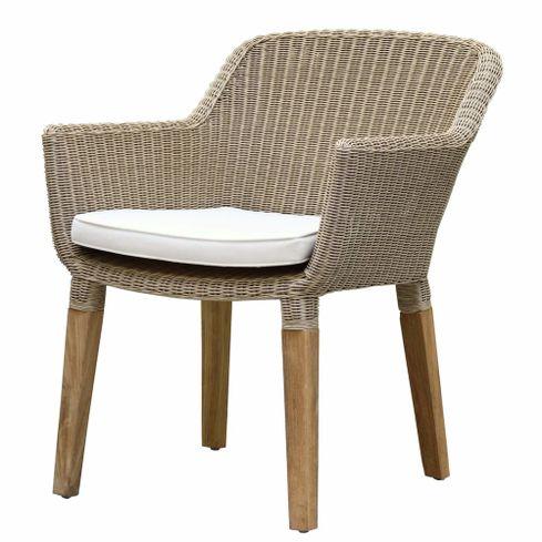 ANGELA záhradná ratanová stolička z teakovými nohami