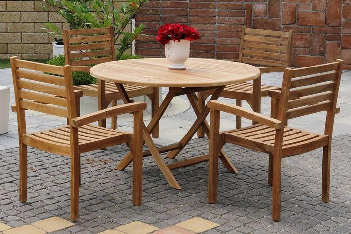 BERNISE DAISY stohovateľné stoličky s okrúhlym stolom priemer 120 cm