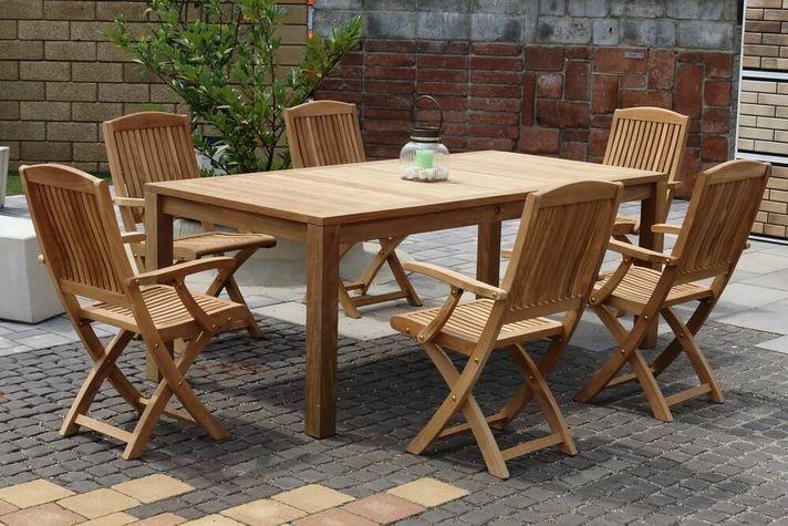 DAISY CASTELLO skladacie stoličky s masívnym stolom 100 x 200 cm