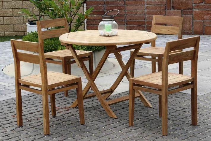 HERA DAISY stohovateľné stoličky s okrúhlym stolom priemer 100 cm