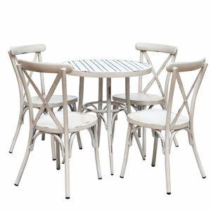 VINTAGE hliníková súprava s okrúhlym stolom 70cm