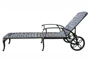 LAVERTON kovové polohovateľné záhradné lehátko na kolieskach