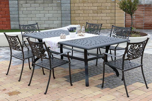 BARNSLEY MAXI 6 kovových stoličiek so stolom 110 x 210 cm
