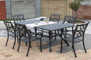 CHYVERTON MAXI 6 kovových stoličiek so stolom 110 x 210 cm