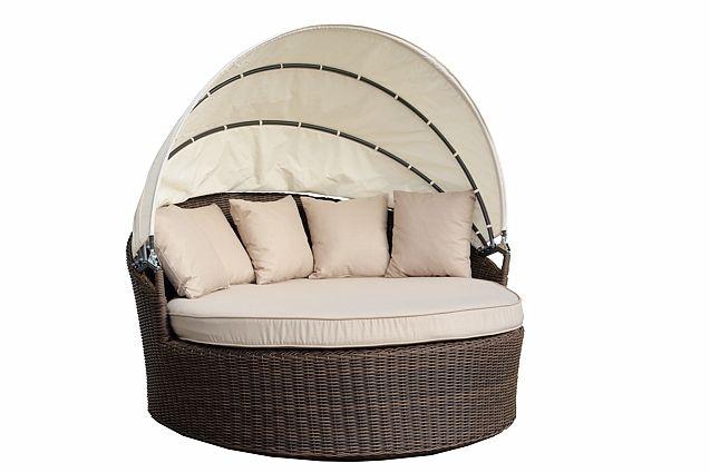 VENUS ratanová záhradná posteľ s matracom a baldachýnom