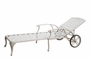 LAVERTON WHITE kovové polohovateľné záhradné lehátko