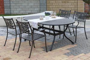 BARNSLEY OVAL 4 kovové stoličky so stolom 105 x 180 cm