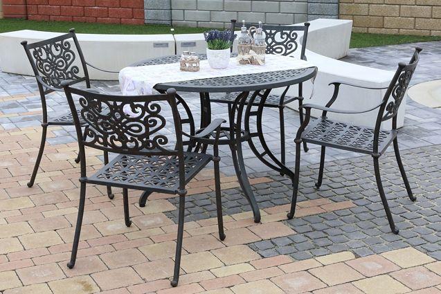 BARNSLEY ROUND 4 kovové stoličky so stolom priemer 105 cm