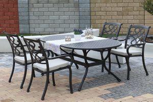 CHYVERTON OVAL 4 kovové stoličky so stolom 105 x 180 cm