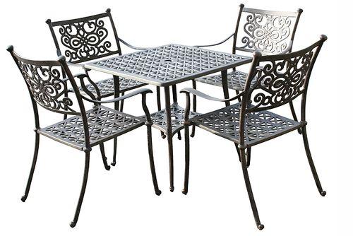 BARNSLEY BISTRO 4 kovové stoličky so stolom 75 x 75 cm