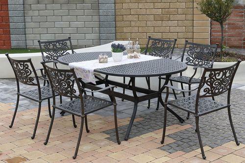 BARNSLEY OVAL 6 kovových stoličiek so stolom 105 x 180 cm
