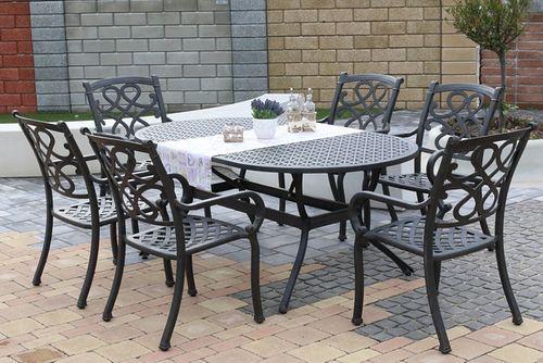 CHYVERTON OVAL 6 kovových stoličiek so stolom 105 x 180 cm