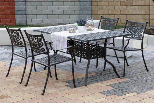BARNSLEY TINTINHAL 4 kovové stoličky so stolom 89 x 158 cm
