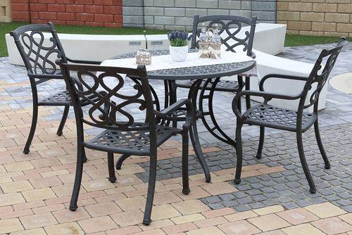 CHYVERTON ROUND 4 kovové stoličky so stolom priemer 105 cm