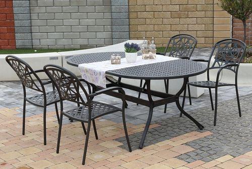 LYNTON OVAL 4 kovové stoličky so stolom 105 x 180 cm